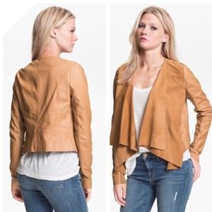 Hinge Faux Leather Jacket in Camel
